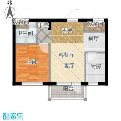 大港永安四季50.00㎡一室两厅一卫户型