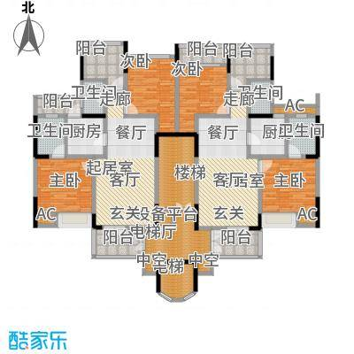 御峰园标准层平面图-T户型4室4卫2厨