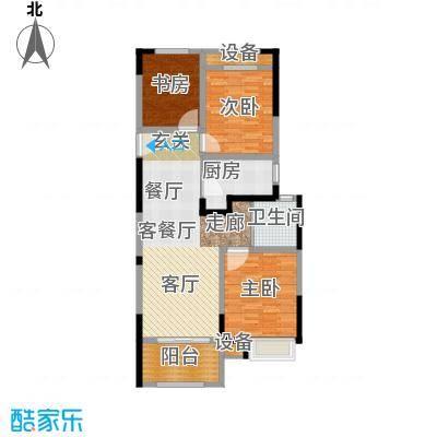 常发御龙山106.87㎡凤廷高层B1户型2室2厅1卫