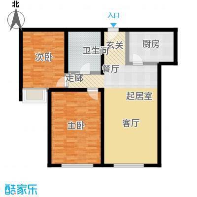 颐和星海95.24㎡B户型3-1单元2单元2二室二厅一卫-T