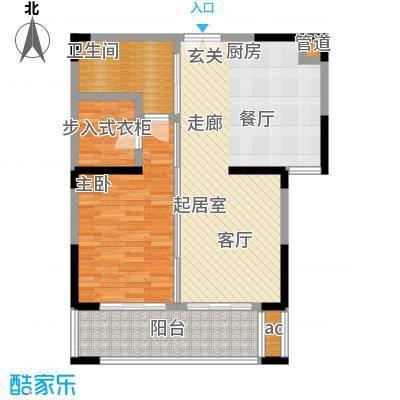 中茵星墅湾77.00㎡3、4、5号楼B1户型1室2厅1卫户型1室2厅1卫