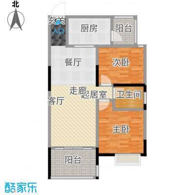 盈拓郦苑73.75㎡户型2室1卫1厨