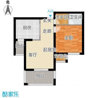天房翠海红山64.86㎡E户型一室一厅一卫户型