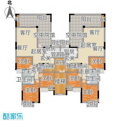 金易伯爵世家129.21㎡金易伯爵世家一期3幢标准层F1/F2户型3室2厅2卫1厨 129.21㎡户型2室2厅2卫