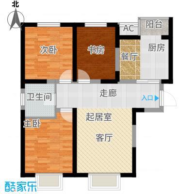 柴楼新庄园F户型 三室两厅一卫户型
