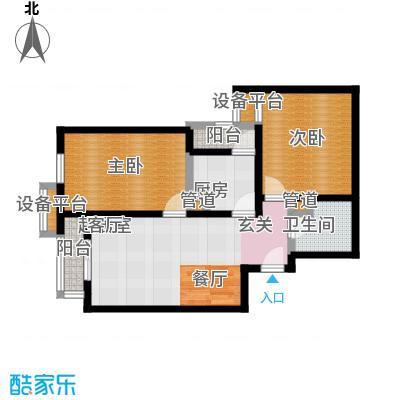北辰福第08两室两厅一卫户型