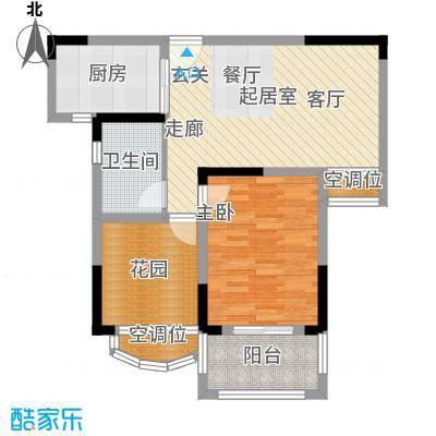 银河湾第1城71.00㎡W3户型 两房两厅一卫户型2室2厅1卫
