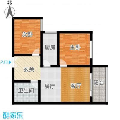 百欣花园88.49㎡1#B户型两室两厅一卫户型2室2厅1卫