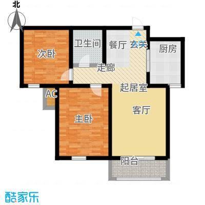 金海湾公寓92.79㎡1、2号楼标准层二室二厅一卫户型-T