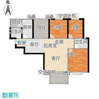 曲江明珠124.00㎡6号楼东户124平米户型3室2厅2卫