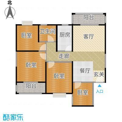 高新第五季四室两厅一卫121.94平米B户型