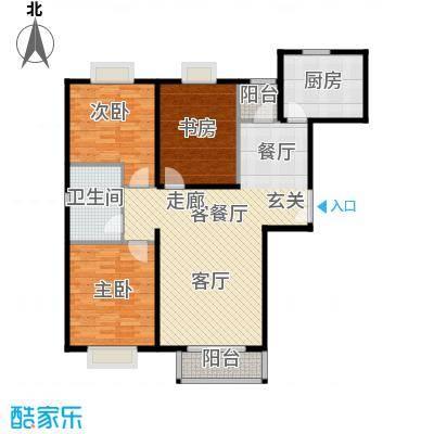 住总尚清湾114.25㎡三室两厅户型3室2厅1卫