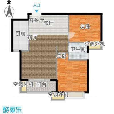 天津湾海景雅苑92.56㎡B2二室二厅一卫一厨户型