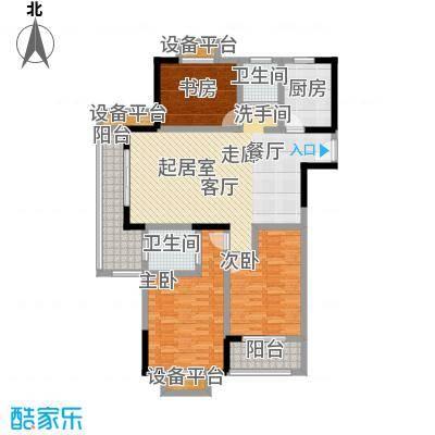 聚盛花园明日星城124.00㎡17#楼A户型三房两厅两卫124㎡户型3室2厅2卫