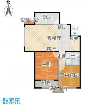世纪学庭74.92㎡D2户型一室两厅一卫约74.92平米户型1室2厅1卫