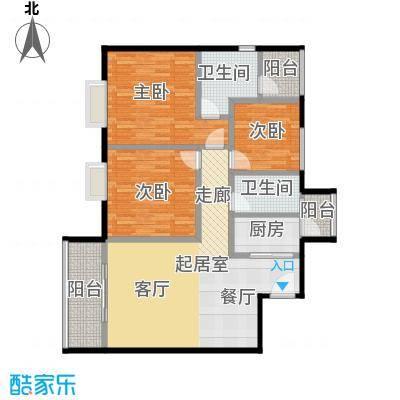 东方苑115.11㎡4号楼2-15层02单位户型3室2卫1厨
