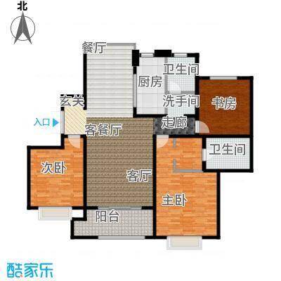 绿地白金汉宫142.53㎡A1、A2、A3、A4、A5、A6楼B2户型三房两厅二卫142.53平米户型3室2厅2卫