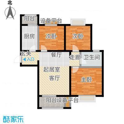 顺鑫・山语溪100.00㎡M户型 三室两厅一卫户型3室2厅1卫