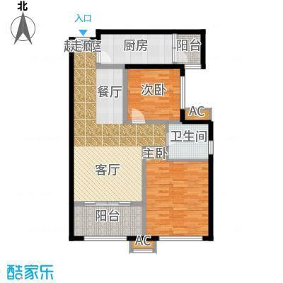 太奥广场86.97㎡项目住宅户型A1户型2室2厅1卫