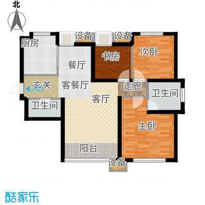 东丽1号115.81㎡E户型 三室两厅两卫户型