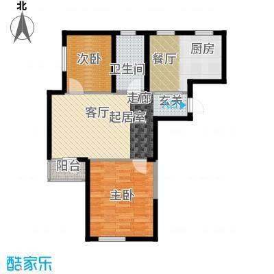 钻石9座89.76㎡两室两厅一卫89.76平米户型图X