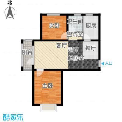 金乾公馆85.31㎡A户型两室两厅85.31平米样板间户型2室2厅1卫