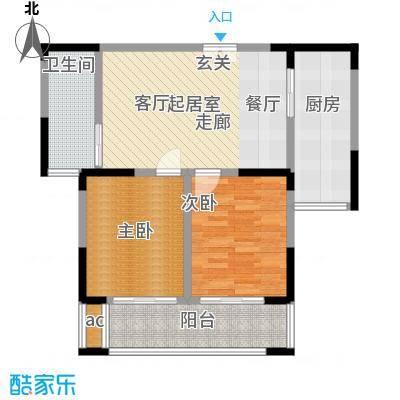 中茵星墅湾80.00㎡3、4、5号楼D户型2室2厅1卫户型2室2厅1卫