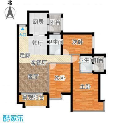 雅居乐锦官城雅居乐星汇04栋01+0户型3室1厅2卫1厨
