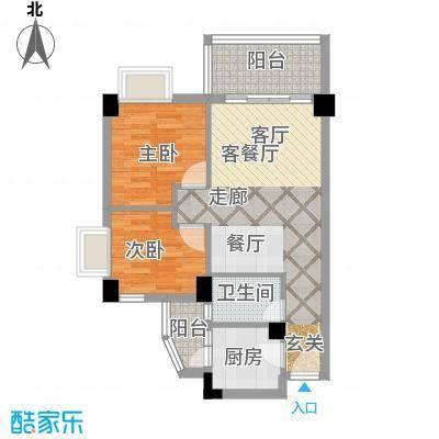 尚境雅筑70.44㎡A4栋04单元户型2室1厅1卫1厨