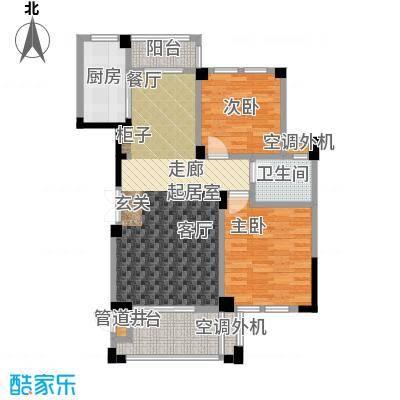 现代森林小镇金融SOHO垂直商业92.00㎡C2户型两室两厅一卫户型2室2厅1卫