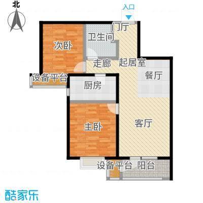 润达万科金域蓝湾89.00㎡二期D户型 2室2厅1卫89平户型2室2厅1卫