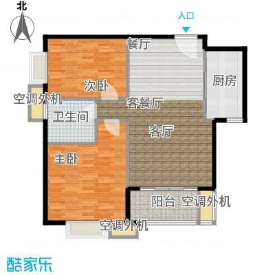 天津湾海景雅苑92.56㎡B3二室二厅一卫一厨户型
