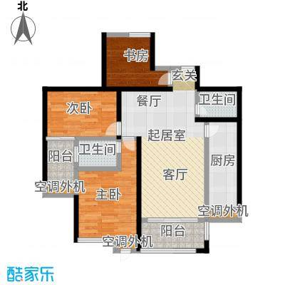 洪客隆英伦联邦88.50㎡5#-9#楼三房B户型3室2厅2卫1厨户型3室2厅2卫