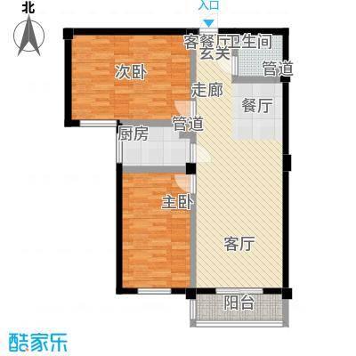 太子花苑88.00㎡2号楼B户型2室2厅1卫