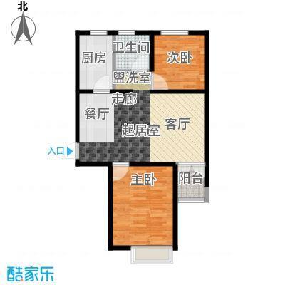 金乾公馆76.21㎡D户型两室两厅76.21平米样板间户型2室2厅1卫