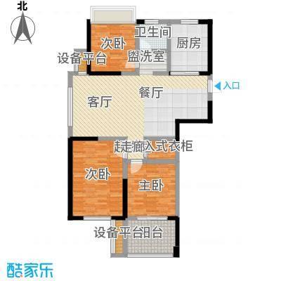 金色领寓107.56㎡金色领寓户型图(4/5张)户型3室2厅1卫