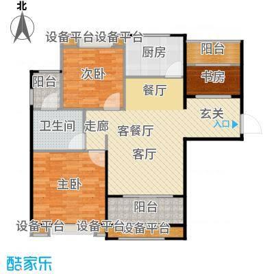 绿地澜郡88.00㎡D户型 2房2厅1卫 88平米户型2室2厅1卫