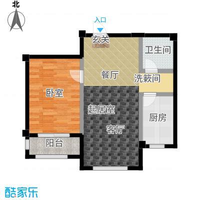 百合花园60.00㎡B户型 1室1厅1卫1厨户型