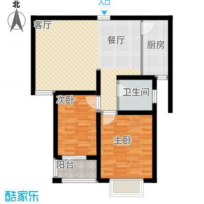 枫逸人家82.21㎡16#楼B2\'户型2室1厅1卫1厨