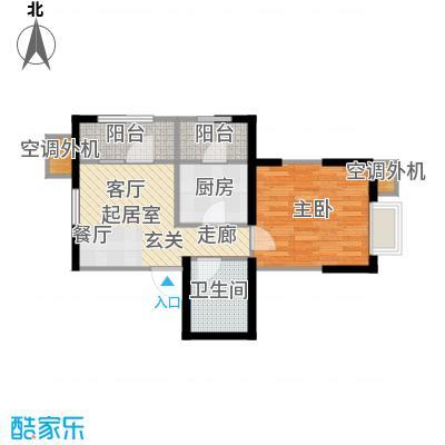 亚泰津澜66.03㎡瞰景高层E5户型1室2厅1卫