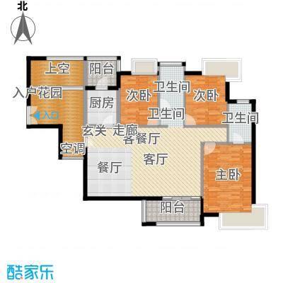 金域中央天玺户型3室1厅2卫1厨