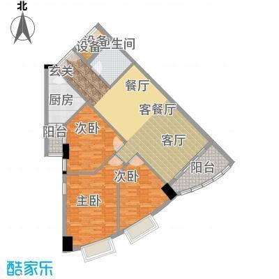 荔景华庭B栋14~15层02户型3室1厅1卫1厨