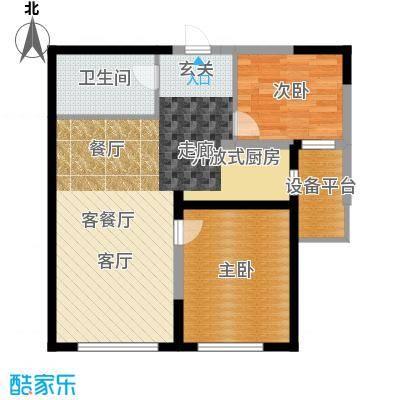 钻石9座83.06㎡两室两厅一卫83.06平米户型图X