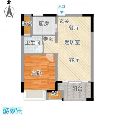 兰陵锦轩58.90㎡8-C户型1室1厅1卫QQ