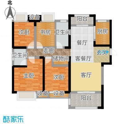 绿地玫瑰城138.00㎡高层A1户型4室2厅2卫