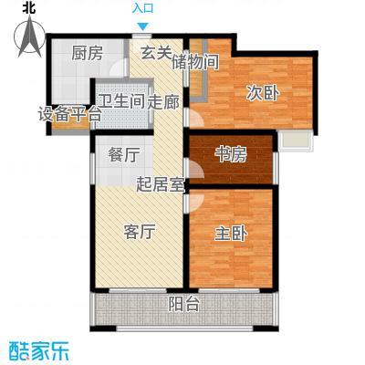 合生前滩一墅104.00㎡D1户型104平米户型3室2厅1卫