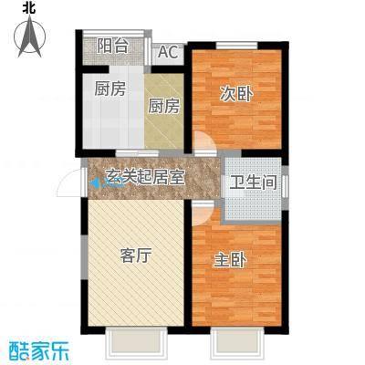 柴楼新庄园B户型 两室一厅一卫户型
