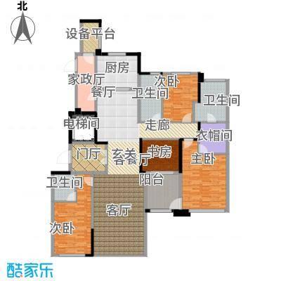 新城帝景190.00㎡190平米(B)4房2厅3卫户型4室2厅3卫