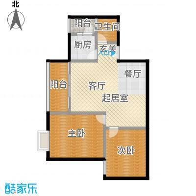 东方苑71.73㎡3号楼2-7层02单位户型2室1卫1厨
