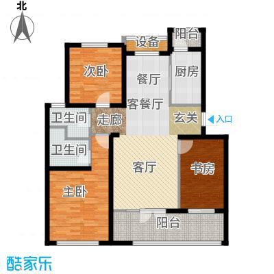 东丽1号120.99㎡H1户型 三室两厅两卫户型